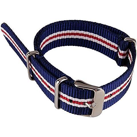 WEONE venda de reloj de nylon de la tela de la lona del reloj de la correa del Ejército Blanco Azul Rojo Militar y 3 colores correa de reloj de 18 mm Anchura