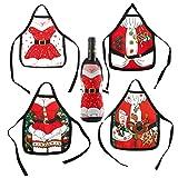 QILICZ Weinflasche Schürze Abdeckung, 4stk Weihnachts Schürze Anzug Kostüm Weinflasche Wrap-Abdeckungs Beutel Dekoration Weihnachten Flaschentasche, Weihnachten Flasche Sets