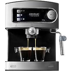 Cecotec Cafetera Express Power Espresso 20. Para espresso y cappuccino con vaporizador. Presión de 20 bares y 850 W de potencia. Acabados en acero inoxidable y depósito de 1,5 litros