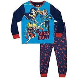DC Comics Pijamas de Manga Larga para Niñas DC Superhero Girls Azul 7-8 Años