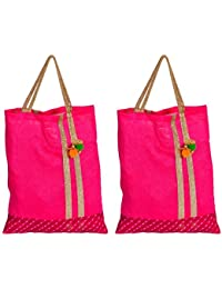 Anupmaa Creation Women's Handbag (Pink, AC006, Pack Of 2)
