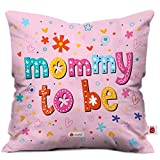 Indigifts Mommy To Be Printed Micro Satin Cushion Cover -Pink, 12x12-inch