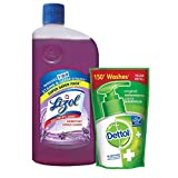 Lizol Floor Cleaner Lavender 975ml with Dettol Handwash Refill 175ml Free (Any Variant)
