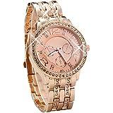 Designer Strass Kristall Roségold Damenuhr Uhr Chronograph Optik Rose Rosegold Gold Armbanduhr Rosengold Rotgold Blogger Bloggeruhr