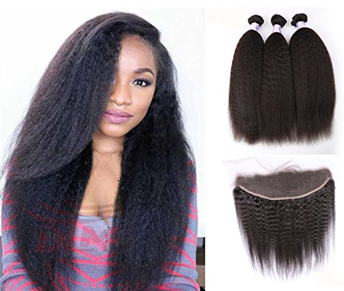 Moresoo 7a 2 Bundles Kinky Straight Bresilien Vierge Cheveux Humains Trame and 1 Piece Ear to Ear 13x4 Lace Frontal Closure with Baby Hair Naturels Noir Couleur 14\\