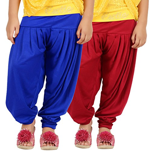 Goodtry Girl's Viscose patiala Pack of 2 Royal Blue-RedGTKVP-021-RYL-RED-9-10 YRS