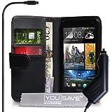 Coque HTC One Etui Noir PU Cuir Portefeuille Housse Avec Chargeur De Voiture