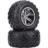 2pcs RC Off-Road Car Tires, RC Crawler Car TPR Tyre Tires & Hubs Wheel Rims For 1/12 RC Car Truck Crawler
