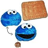 2piezas Set: almohada para galletas Monstruo de las galletas de Barrio Sésamo azul/abrir con galleta cojín con bolsillo secreto. Grande Suave Niños Cojín Sid migas Monstruo de las galletas