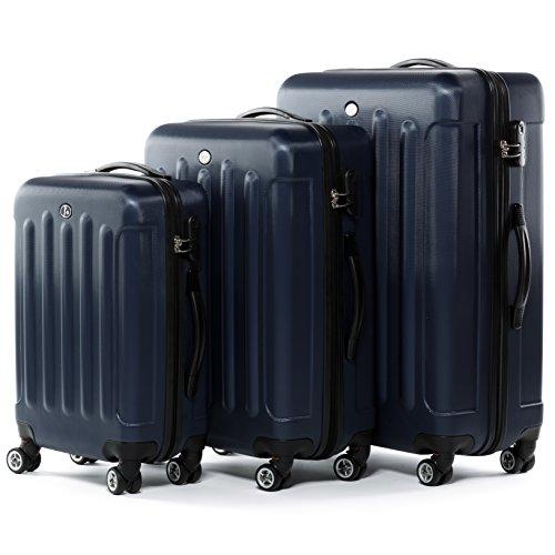 FERGÉ Kofferset Hartschale 3-teilig Lyon Trolley-Set - Handgepäck 55 cm L XL - 3er Hartschalenkoffer Roll-Koffer 4 Rollen 100% ABS blau