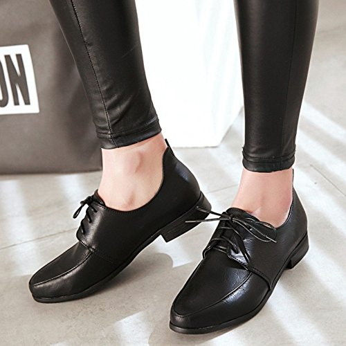 TAOFFEN Femme Decontracte Plat Chaussures Lacets Esacrpins Noir