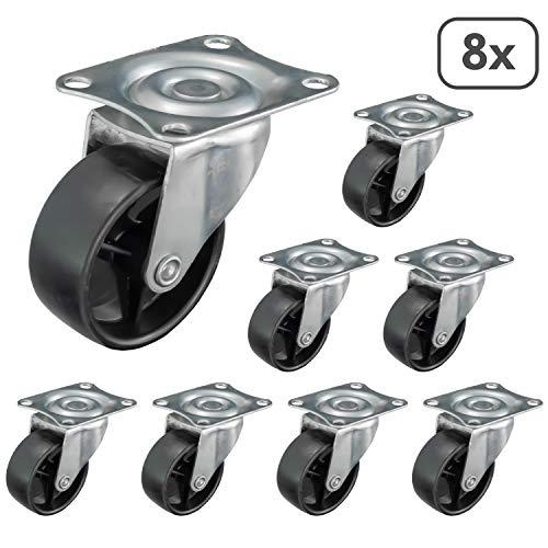 51HQOwwtZ9L - Nirox 8x Ruedas para muebles 50mm - Ruedas giratorias giro de 360 grados - Ruedas de transporte altura total de 60mm - Ruedas pivotantes hasta 120kg