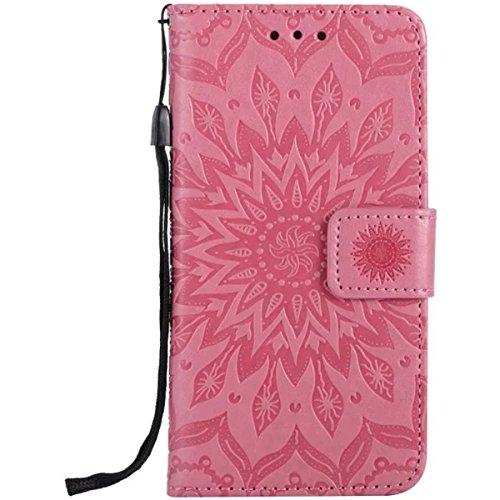 iPhone 7 Étui en cuir, Lifetrut [Tournesol gaufré] Portefeuille en cuir Flip Folio Design Flip Coque Couverture pour iPhone 7 [Marron] E205-Rose