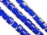 ILOVEDIY 60 Stück Glasperlen quadratisch Schmuckperle zum Schmuck Amband basteln DIY 6*6*6mm (Royablau)