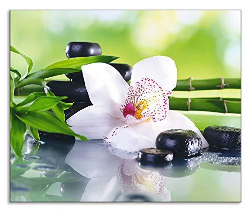 Artland Design Spritzschutz Küche I Alu Küchenrückwand Herd Wellness Zen Pflanze Fotografie Grün H8GR Spa Steine, Bambus Zweige und weiße Orchidee auf dem Tisch auf natürlichem Hintergrund (Bambus-zweige)