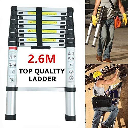 2.6M Leiter Mehrzweckleiter, Klappleiter Teleskopische Leiter mit Plattform mit Sicherheitsschloss Anti Rutsch Gummi, Aluminium DIY Erweiterbar faltbare Leiter 4x3 Sprossen Leitern Alu 150 kg Belastbarkeit
