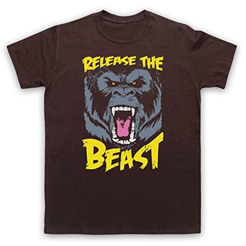 Release The Beast Gym Workout Slogan Herren T-Shirt Braun