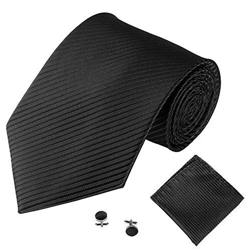 UJUNAOR Herren Fliege Gestreift in Verschiedenen Farben Krawatte Manschettenknöpfe Tasche Handtuch-Set(A,One Size)