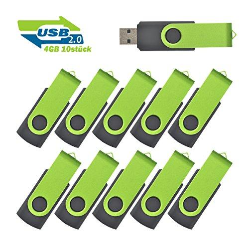4GB Usb Sticks Einklappbarer USB 2.0 Transmemory Memory Stick, 10 stück Grün - Swivel 4 Gb Usb