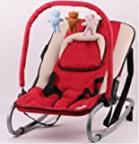 VINSANI RED BABY BOUNCER ROCKER WITH HOOD AND TOYS