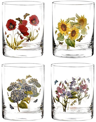 Portmeirion Botanic Garden Double Old Fashioned Tumbler Floral Glas-Set von 4