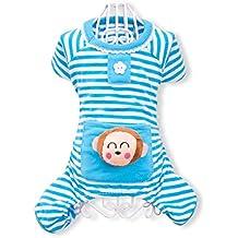 PETCUTE Cute Ropa Para Perros Pijamas Ropa de Algodón Suave Ropa de Mascotas de Cuatro Patas Ropa Para el Otoño Otoño Invierno Azul