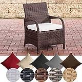 CLP Polyrattan-Gartenstuhl PIZZO mit Sitzkissen I Outdoor-Stuhl mit robustem Untergestell aus Aluminium Braun Meliert, cremeweiß