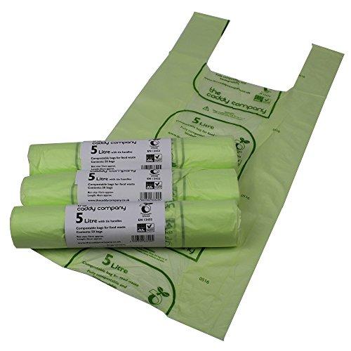 150 bolsas para compost con asas 5 L–bolsas de basura para desechos alimentarios–EN 13432–bolsas de 5litros