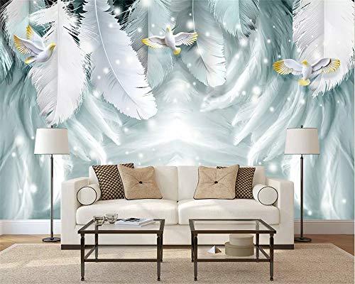 REAGONE Benutzerdefinierte 3D Wandbilder Wallpaper Moderne Nordische Abstrakte Federn Vogel Wandmalerei Wohnzimmer Schlafzimmer 3D Wallpaper, 250X175 Cm (98.4 Von 68.9 In)