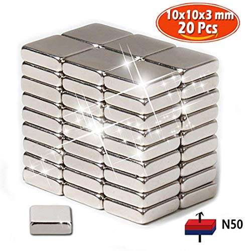 Imanes de nevera de neodimio N50 (20 piezas) | 10 x 10 x 3mm,| Imanes de tierra rara para artesanías, manualidades, hobbies y organización de oficinas