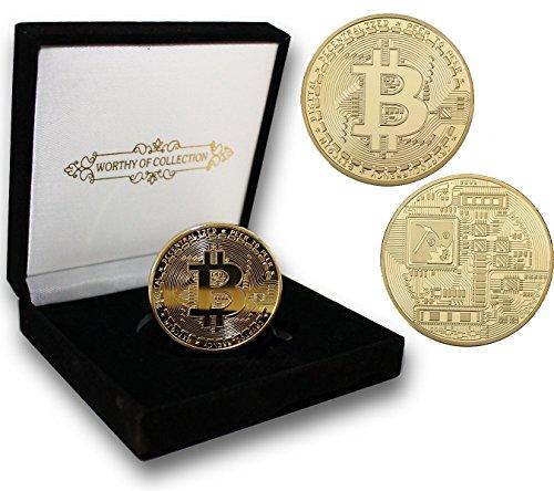 PfX Physische Goldene Bitcoin Sammler Münze [mit 24-Karat Echt-Gold überzogen] inklusive edlem Samt Münz-Etui (Gold) - Gold Münze