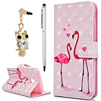 For Samsung Galaxy J3 2017 Case, YOKIRIN 3D PU Leather Magnetic Adsorption Folio Inner Soft TPU with Card Slots Kickstand Flip Holster Wallet Case (with Dust Plug & Stylus Pen), Flamingos