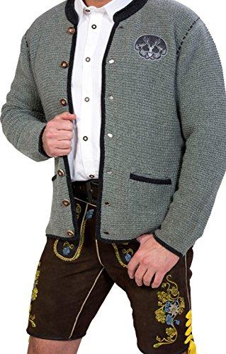 Almwerk Herren Trachten Strick Jacke Modell Ludwig, Größe Herren:58 - 4XL - Bundweite 105-109 cm;Farbe:Hellgrau - 5