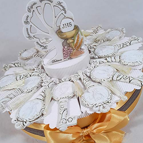 Bomboniere comunione ecomomiche originali torta porta confetti chiavi con calice (torta 14 fette chiavi comunione)