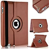 #9: TGK 360 Degree Rotating Leather Case Cover Stand For iPad 4, iPad 3, iPad 2 - Brown