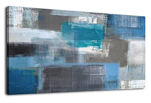 arteWOODS Kunstdruck auf Leinwand Drucken Abstrakte Malerei Large Canvas Kunst Blau Panorama Art Wand für Home Office Dekoration gerahmt fertig Zum Aufhängen 50,8x 101,6cm - Teal Grau-wand-kunst