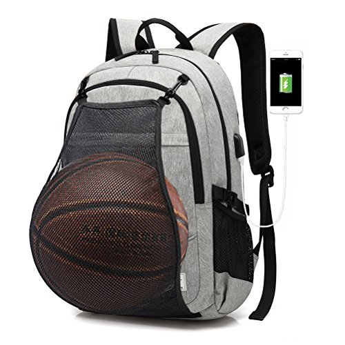 FEWOFJ Business Laptop Rucksack mit Basketball Net USB Ladeanschluss, Damen/Herren College Schule Rucksack Sport Tasche für Fußball, Fußball, Volleyball, Fitnessstudio, Reisen, Grau
