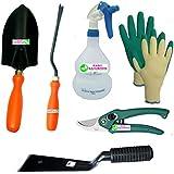 """Easy Gardening - Essential tools - Trowel Big, Weeder, 2"""" Khurpi, Trigger Sprayer, Knit Gloves & Pruning secateur"""