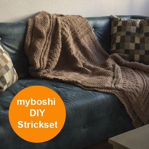myboshi Strick-Set | Decke Tucson | Strickanleitung + Strickwolle 26er Knäuel + Rundstricknadel (6,0 x 80) + Selfmade Label | Tucson | Ocker