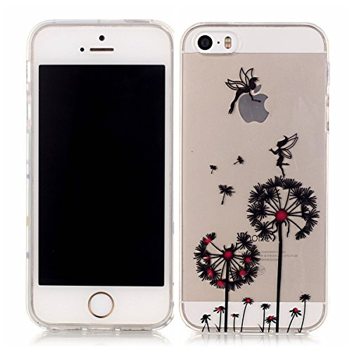 iPhone 5S Hülle Case,iPhone SE Hülle Case,Gift_Source [Crystal Clear] Fashion Colorful Silicone Protective Hülle Case Premium Flexible Transparent Soft TPU Slim Hülle Case Cover für iPhone SE/5S/5 [Pl E01-11-Dandelion