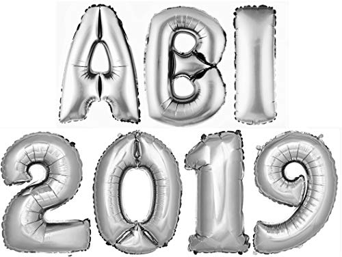 DekoRex ABI2019 Buchstabenballon Abitur 2019 Folienballon Zahlenballon Luftballon Heliumballon Deko Silber 100cm