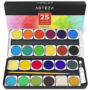 arteza ensemble peinture aquarelle haut de gamme 25 godets avec couleurs vives comprend un. Black Bedroom Furniture Sets. Home Design Ideas