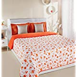 Amazon Brand - Solimo Victoria Microfibre Printed Quilt Blanket, Double, 120 GSM, Orange