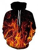 Bfustyle Unisex 3D Digital gedruckt Feuer Pullover mit Kapuze Sweatshirt mit großen Taschen