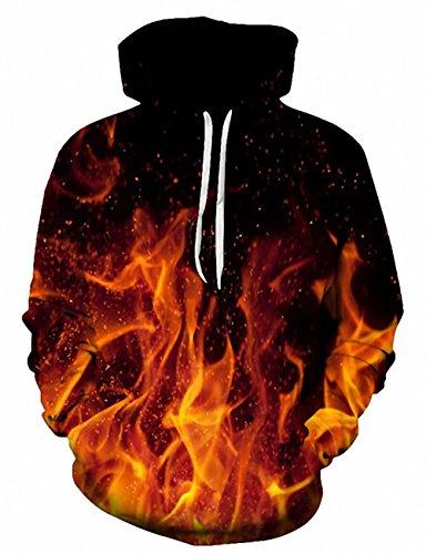 Loveternal Unisex Kapuzenpullover 3D Gedruckt Hoodies Herren Langarm Fleece Pullover Flamme Sweatshirt für Teen Jungen Mädchen L/XL Boys Graphic Fleece