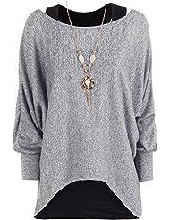 WearAll - Damen Gestrickt Lang Batwing Hülle Halskette Insert Auskleidung Tauchen Saum Top - 5 Farben - Größe 36-44