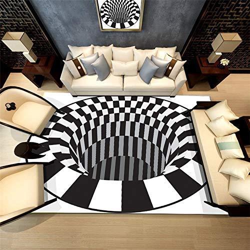 ch Rund Schwarz und Weiß 3D Gedruckter Teppich mit hoher Dichte Geeignet für Familien Wohnzimmer Schlafzimmer, 80 cm (H) X 120 cm (W) ()