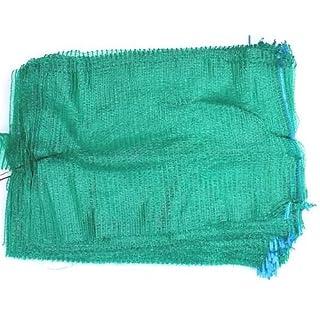 100 Green Net Sacks 30cm x 50cm with Drawstring Raschel Bags Mesh Vegetables Logs Kindling Wood Netbags