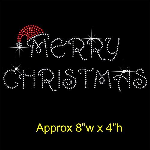 Merry Christmas 20,3x 10,2cm Hotfix Strass mit Eisen auf übertragen Motiv Aufnäher (Weihnachten Eisen Auf übertragung)