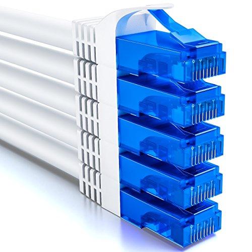 deleyCON 5X 0,5m CAT6 CAT6 Netzwerkkabel Set - U-UTP RJ45 CAT-6 LAN Kabel Patchkabel Ethernetkabel DSL Switch Router Modem Repeater Patchpanel - Weiß